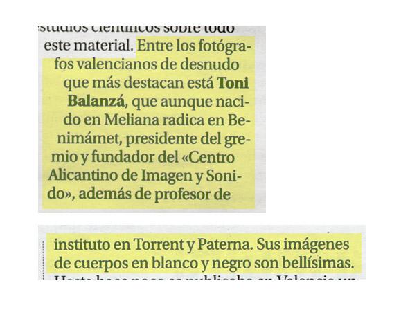 Toni Balanzà considerado uno de los mejores fotógrafos de desnudo valencianos según un artículo de fotografía erótica firmado por Carles Recio