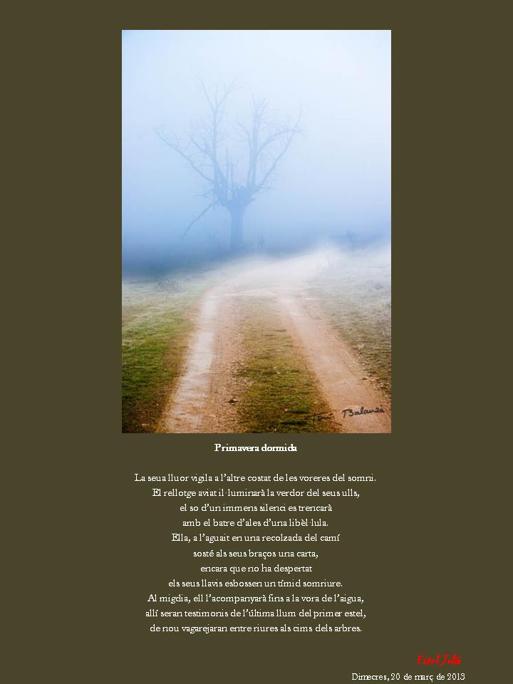 La primavera dormida, poema inspirat sobre una fotografia de Toni Balanzà, versió en Valencià de la escriptora i poeta Estel Julià