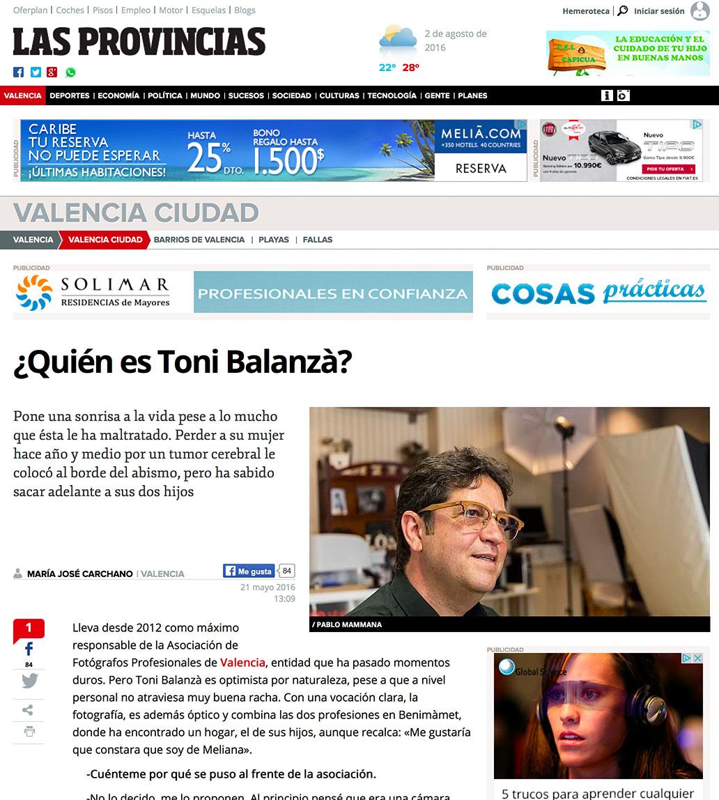 Toni Balanzà entrevista periódico Las Provincias de Valencia