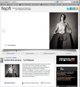Captura de pantalla del blog web de la FEPFI con la foto de Toni Balanzà Torera mastectomizada