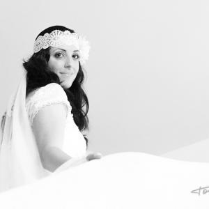 fotografía de boda la novia y el padre de la novia  -